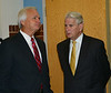 Lt. Gov. Ron Ramsey talks with Tennessee Supreme Court Chief Justice Gary Wade at Kingsport Renaissance Center prior to the investiture Ceremony of Judge Robert H. Montgomery, Jr. as a member of the Court of Criminal Appeals Eastern Section. Photo by David Grace