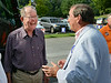 Lamar Alexander shares a laugh with Sullivan County Mayor candidate Richard Venable while getting off the bus at Warriors Path State Park. Photo by Ned Jilton II