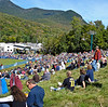 """The """"hill"""" above the Athletic Field slowly filled up.  Hundreds of visitors surrounded this field for the events in early afternoon."""