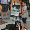 2014 Lowell Folk Festival. Ellen Wright of Lowell with son Aiden Wright, 6, and their Great Dane/mastiff mix, Hudson, also 6, on the parade route. (SUN/Julia Malakie)