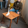 "KCAD Student Nathan McCullum with his ""Out of sight out of mind"" Table."