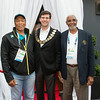 Mayor Don Iveson (centre) and Wellington Miller (left), President, Bahamas Olympic Association and Kenn Banks (right), President, Commonwealth Games Association of Anguilla.  They are attending the Mayor's reception at the XX Commonwealth Games in Glasgow.