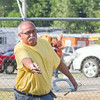 SAM HOUSEHOLDER | THE GOSHEN NEWS<br /> Herman Santos, Goshen tosses a horseshoe Wednesday at the Elkhart County 4-H Fair. Santos plays in two horseshoe leagues.