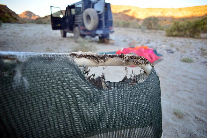 never leave your chairs around the campfire in the desert - wind gusts will kick them right into the hot coals