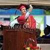 6/27/2014 Mike Orazzi | Staff<br /> New Britain High School Valedictorian Krystian Koszykowski takes a selfie during Friday's graduation ceremony at New Britain Stadium.