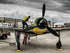 Focke-Wulf Fw-190 A-5 undergoing post flight maintenance on Luftwaffe Fly Day at Paine Field in Everett, WA on August 17, 2013.