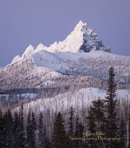 Three Finger Jack, just after sunset - Image taken on Tele-fest 2013 day - January 12, 2013 at Hoodoo Ski Area near Sisters, Oregon - Gary N. Miller - Sisters Country Photography