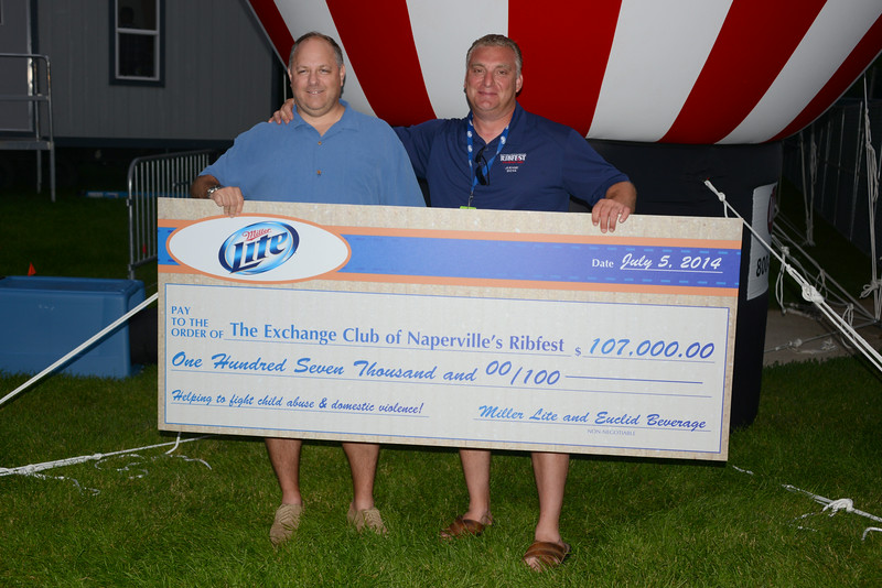 Ribfest - 2014 - Naperville, Illinois - Sponsored by the Exchange Club of Naperville - Check Presentation - Miller Lite