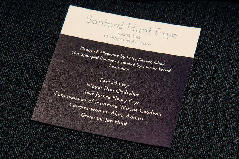 Sanford Hunt Frye Banquet @ Charlotte Convention Center 4-25-15
