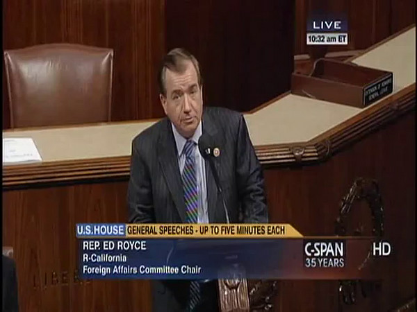 Representative Ed Royce memorializes Sue Kint, on the US House floor, June 25, 2014.