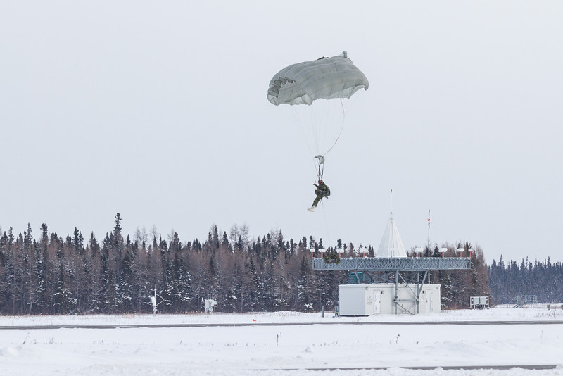 Paratroop landing at Moosonee Airport.
