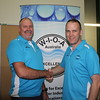 Colin Haynes (L) from Unitywater is congratulated by WIOA President Ryan McGowan on being elected the WIOA Queensland Advisory Committee Chairperson, 2015