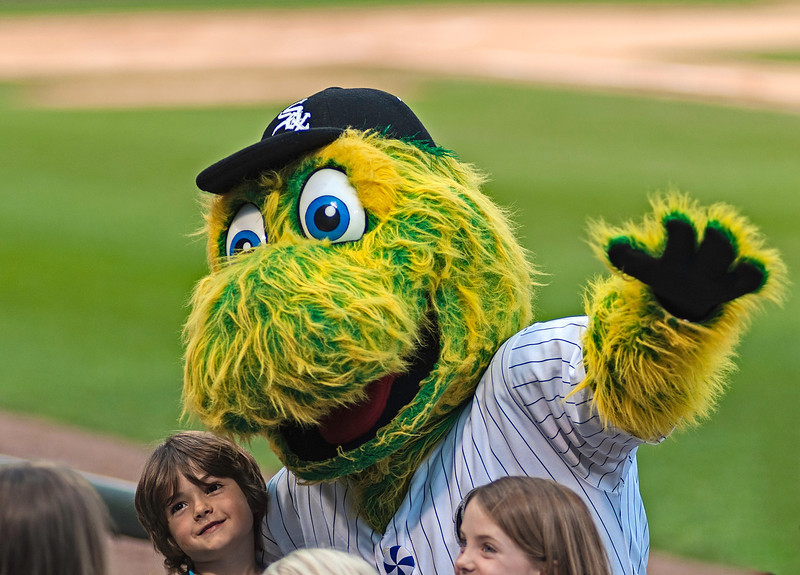 The Chicago White Sox mascot 'Southpaw' on hand at the Chicago Police vs Chicago Fire Charity Baseball Game, US Cellular Field, Chicago, Illinois