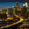Minneapolis Skyline at Night - Guthrie Theater to Target Field