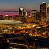 "Magenta Minneapolis: Downtown  - This panorama of downtown Minneapolis, captured just after sunset, shows the city skyline in all its night time glory.  This image is the left half of the much wider ""Magenta Minneapolis"" panorama also available on this site."