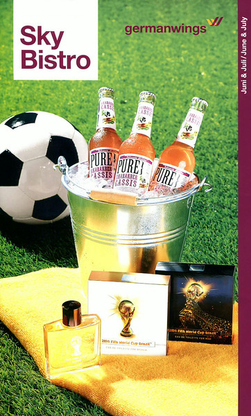 2014 FIFA WORLD CUP BRAZIL Eau de Toilette for  Women - Eau de Toilette for Men  2014 Germany (cover Sky Bistro menu of Germanwings Airlines, format 18 x 30 cm)