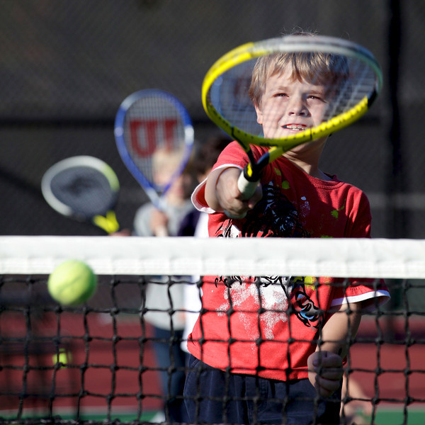 Lausanne Collegiate School students participate in tennis lessons, Nov. 2, 2011