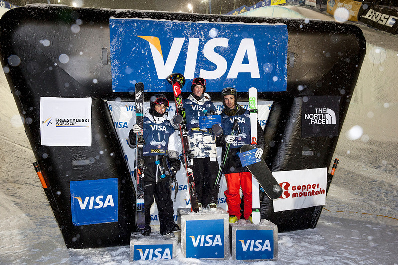 Men's HP World Cup Podium Copper Mountain with Kevin Rolland (FRA) in 2nd, Aaron Blunck (USA) in 1st and Gus Kenworthy (USA) in 3rd