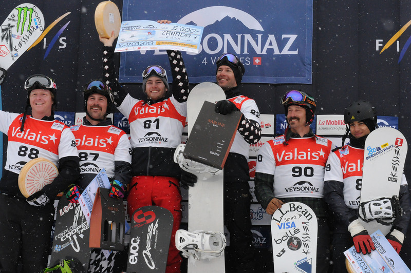 2013 FIS World Cup Snowboard - Snowboard Cross - Team Event - Veysonnaz, SUI March 17.   Men's Podium.   (Left to right) 2. Nate Holland/Nick Baumgartner (USA), 1st Christopher Robanske/Robert Fagan (CAN), 3. Seth Wescott/Jonathan Cheever (USA)  Photo: Rene Brunner