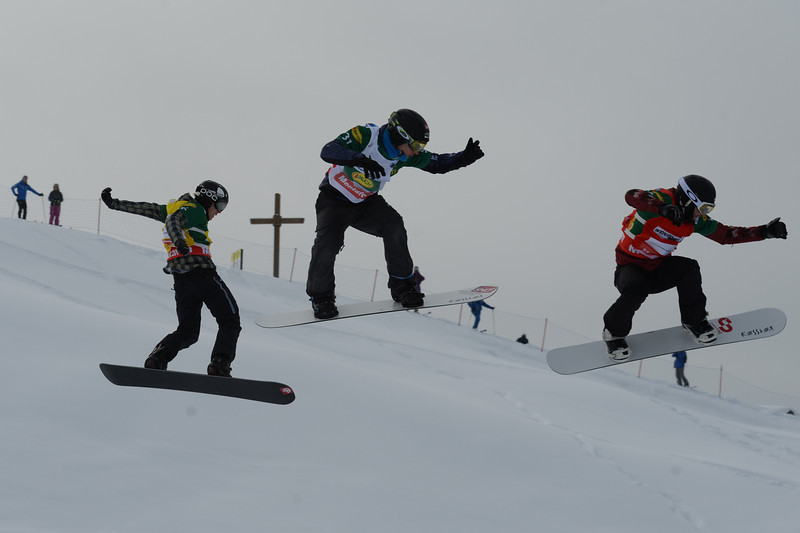 Semi final #2 men at SBX World Cup Montafon: Kevin Hill (CAN) in red, Anton Lindfors (FIN) in yellow, Paul-Henri de le Rue (FRA)  © FIS