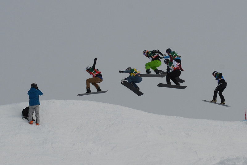 Eighth final #5 men at SBX World Cup Montafon: Stian Sivertzen (NOR) in red, Matija Mihic (SLO) in green, David Speiser (GER) in black, Jake Holden (CAN) in white, Alexis Tsokos (GRE) in blue, Andrey Boldykov (RUS) in yellow  © FIS