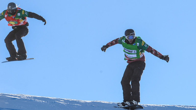 Kevin Hill CAN ahead of Hagen Kearney USA at Team SBX event at Montafon, Austria  © FIS