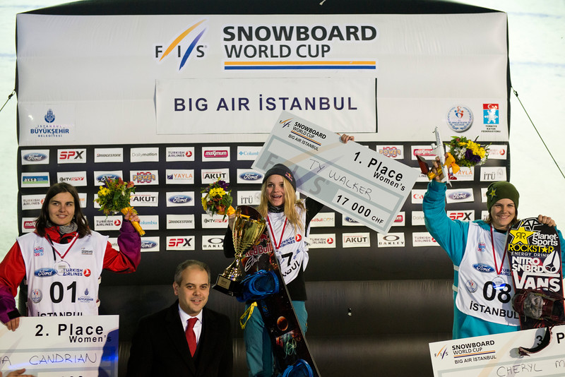 FIS Snowboard World Cup - Istanbul TUR - Big Air  - 2nd Sina CANDRIAN SUI, 1st Ty WALKER USA and 3rd Cheryl MAAS NED © Miha Matavz