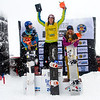 Podium Ladies Charlotte Bankes (FRA), Nelly Moenne (FRA) and Lindsey Jacobellis (USA) FIS SBX World Cup at La Molina - Finals - Mar 21, 2015. © Mario Sobrino La Molina, Molina, SBX, World Cup,