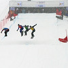 Quarter Finals #1 Boys with Nicolay Olyunin (RUS) in red,Alex Deibold (USA)  in yellow, Mick Dierdorff (USA) in green and Kevin Hill (CAN) in blue FIS SBX World Cup at La Molina - Finals - Mar 21, 2015. © Mario Sobrino La Molina, Molina, SBX, World
