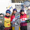 Women's podium at SBX World Cup Lake Louise with Dominique Maltais (CAN) in second, Lindsey Jacobellis (USA) in first and Helen Olafsen (NOR) in third  © Arden Shibley / @SnarePhoto