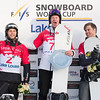 Men's podium at SBX World Cup Lake Louise with Konstantin Schad (GER) in second, Jarryd Hughes (AUS) in first and Alex Deibold (USA) in third  © Arden Shibley / @SnarePhoto