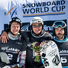 FIS Snowboard World Cup - La Molina SPA - SBX - Finals - 2nd Nikolay Olyunin (RUS), 1st Paul Berg (GER) and 3rd Regino Hernandez (SPA)  © Miha Matavz