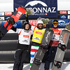 Women's podium at SBX World Cup Veysonnaz, Switzerland with 2nd Anton Lindfors, 1st Fabio Cordi (ITA) and 3rd Christopher Robanske (CAN)  @ adamjohnstonphotography.com
