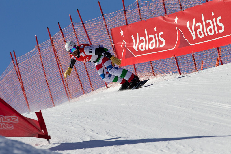 CORDI Fabio ITA at qualifiers for FIS Snowboard Cross World Cup in Veysonnaz, Switzerland  @ adamjohnstonphotography.com