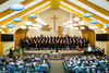 The Faith and Life Male Choir and Women's Chorus at their spring concert at the Winkler Bergthaler Mennonite Church, Winkler, Manitoba, Canada.