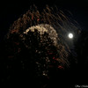 full moon behind the fireworks with the trees