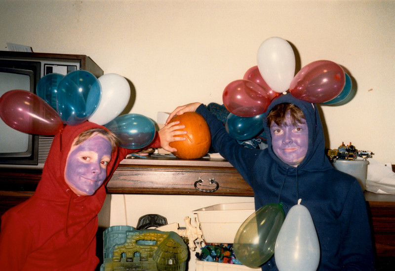 Andrew & Jonathon in their Halloween costumes - (October 31, 1987 / Ramstein Temporary Living Facility, Ramstein Air Base, Rheinland-Pfalz, West Germany) -- Andrew & Jonathon