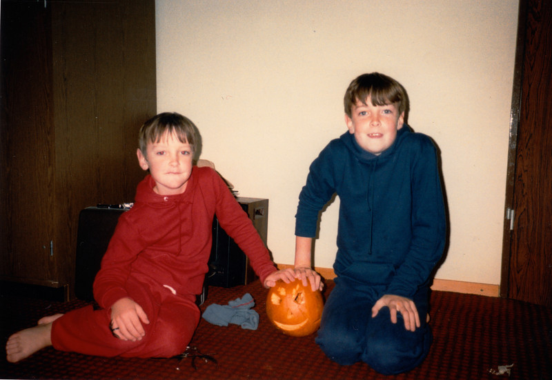 Andrew & Jonathon with their Halloween pumpkin - (October 31, 1987 / Ramstein Temporary Living Facility, Ramstein Air Base, Rheinland-Pfalz, West Germany) -- Andrew & Jonathon