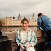 Cristen in front of Palace of Westminster (Parliament) and Big Ben - (May 3, 1988 / London, England, United Kingdom) -- Cristen