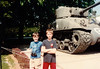 Jonathon & friend with Normandy Beaches tank on Sixth Grade field trip - (May 23,1989 / Normandy, France) -- Jonathon