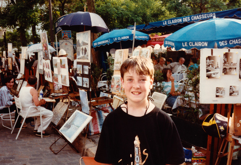 Jonathon at Painter's Square in Montremarte - (May 25,1989 / Montremarte, Paris, France) -- Jonathon