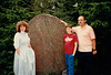 Cristen, Jonathon & David with runic stone at Skansen - (July 15, 1989 / Djurgården, Stockholm, Sweden) -- Cristen, Jonathon & David