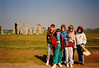 Michael, Jonathon, MaryAnne, Andrew, Pat Crowley & Cristen at Stonehenge (April 6, 1990 / Stonehenge, Amesbury, Wiltshire County, England, United Kingdom) -- Michael, Jonathon, MaryAnne, Andrew, Pat Crowley & Cristen