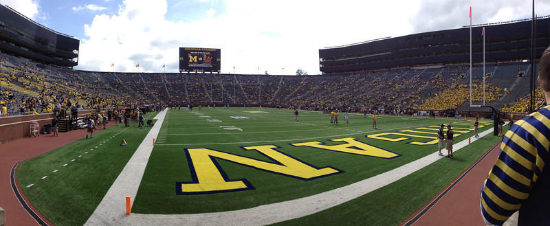 UM vs. CMU football game, Ann Arbor, MI, 8-31-2013.  Ray + Keenan attended the game.