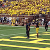 UM vs. CMU football game, Ann Arbor, MI, 8-31-2013.  Ray + Keenan attended the game.  Head coack Brady Hoke during pre-game warm-ups.