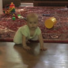 2008-7-3 - Adelaide crawling to cup, sitting up playing with stuffed dog, Rex