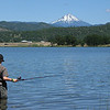 Fishing at Agate Lake with Mt McLoughlin in the distance