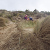 Abby and Angus climbing in the dunes