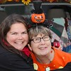 At my age, I have a few reliable pieces for each holiday that I trot out each year. My Halloween sweater was given to Jackie, and she was not interested. I love it. Liz made the pumpkin earrings for me. And I added the obnoxious light-up pumpkin headband this year. Here I am at our annual Trunk or Treat event with my dear friend Dana. I love this picture because it makes me think of people I love.