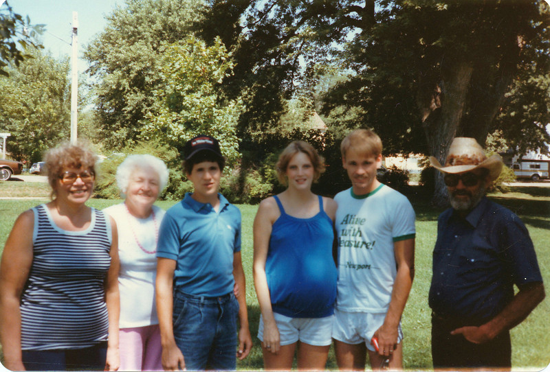 Judy Warner, Bertha Carter, David Warner, Becky and Pete Aubin, Ralph Warner. (Matt in tummy).  Taken at St. Edward Park.  August 1984